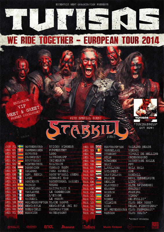 Turisas European tour dates 2014